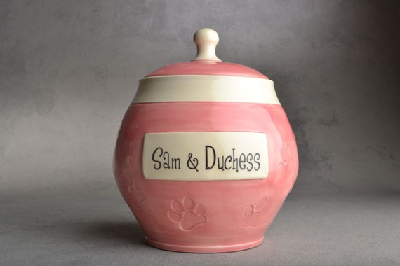 Pet Treat Jar Made To Order Paw Stamped Treat Jar by Symmetrical Pottery