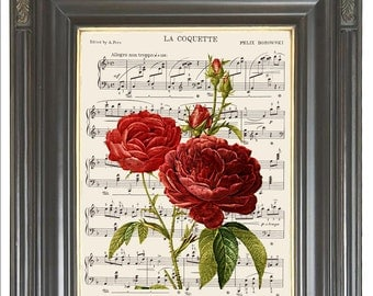 French red rose wall art print on dictionary or music Dictionary art print wall decor Digital art print Rose print COUPON  Item No. 346