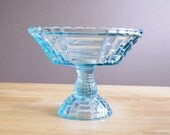 Vintage Aqua Marine Blue Compote Glass Bowl Jeanette Glass