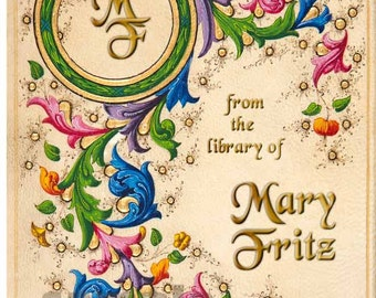 Medieval Ornately Illuminated Bookplate - STICKERS - colorful and vibrant
