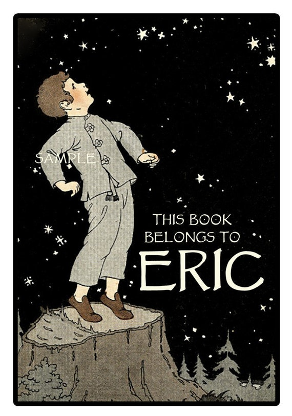 The Stars Shine Bright -  Personalized ADHESIVE Bookplate - Boy - Stars - evening sky - STICKERS