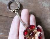 Vintage 50's Ruby Red Rhinestone key chain
