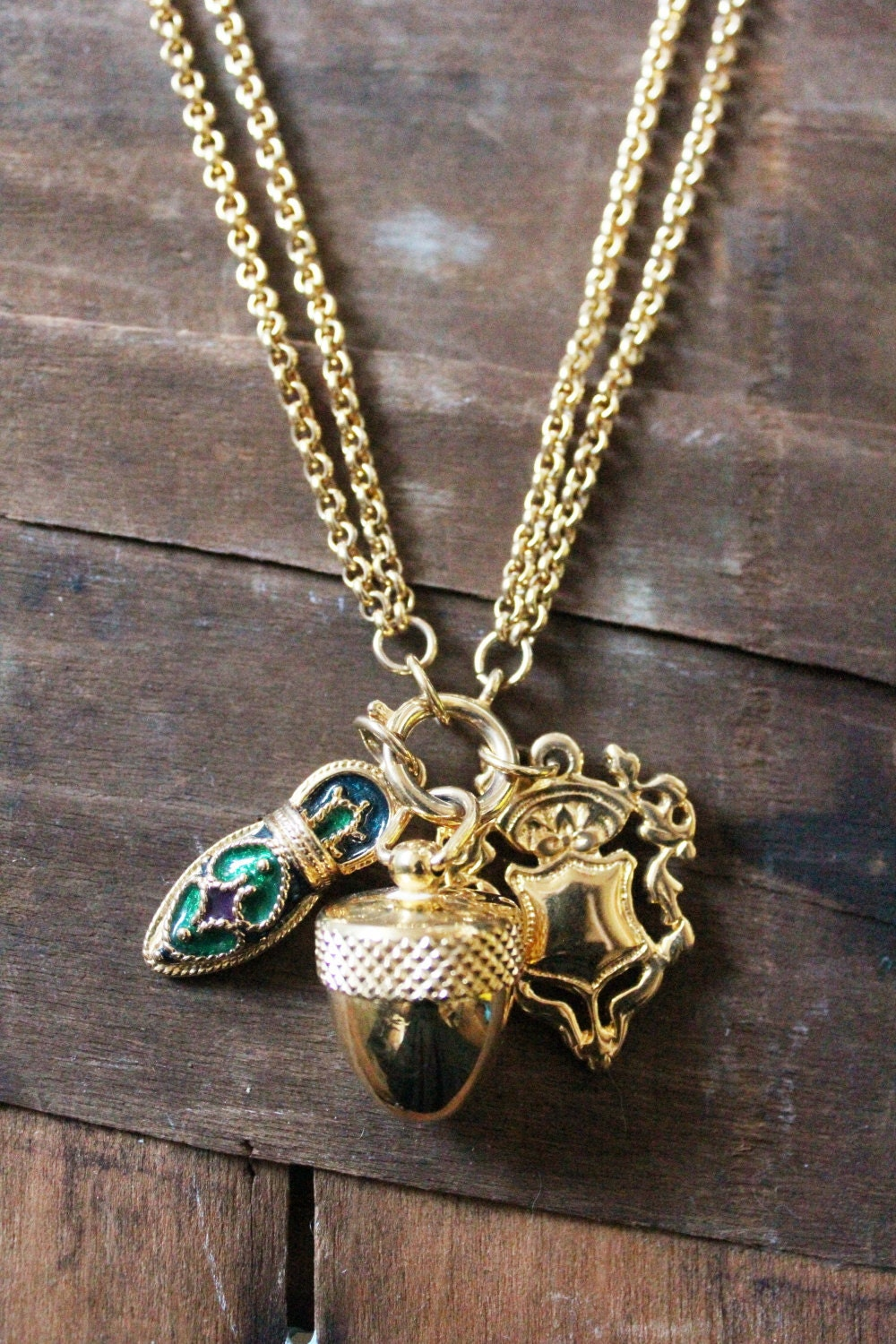Vintage 80 39 s gold charm necklace by joan rivers for Joan rivers jewelry necklaces