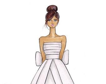 Michaela - Bride Fashion Illustration Print - by Brooke Hagel