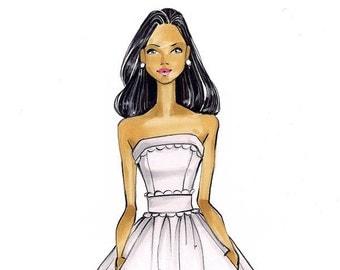 Sophia Bridal Fashion Illustration Print - by Brooke Hagel