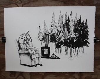 Waiting, a lithograph print