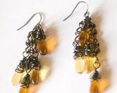 Smokey Topaz Tear drops with gunmetal wire dangle earrings - Topaz Rain Earrings - Art Jewelry by Sarah McTernen