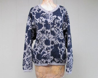 Vintage 1980s Sweater / 80s Gray Navy Wool Floral Benetton Cardigan / Medium