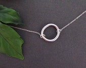 Circle Necklace, Simple Necklace, Mother Necklace, Sister Necklace, Minimal Necklace, Bridal jewelry, Silver Necklace, Gift under 25,