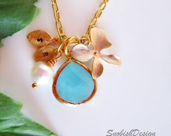 Aquamarine Necklace, Initial Necklace, Orchid Necklace, Personalized Necklace, Gold Necklace, Sister Necklace, Dainty Necklace, Mothers