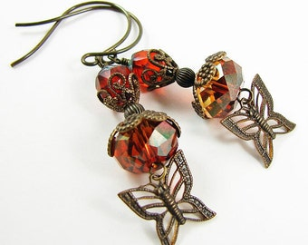 Romantic Bohemian Butterfly Charms Red Magma Antique Brass Earrings