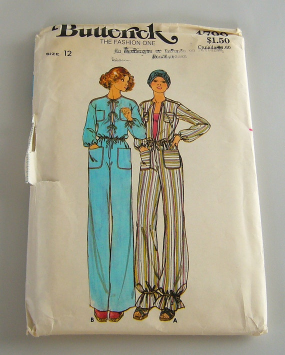 Vintage Butterick Sewing Pattern / 1976 Jumpsuit Pattern / Butterick Jumpsuit Pattern 4790 / Misses Size 12