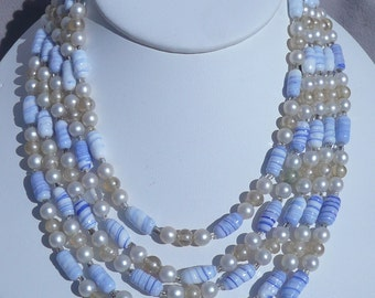 Vintage Multi Strand Beaded Necklace with White, Blue, Pearl, & Clear Beads