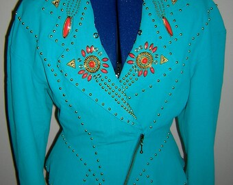 Vintage 1980s turquoise studded / gemmed blazer with orange / salmon rhinestones, size 8
