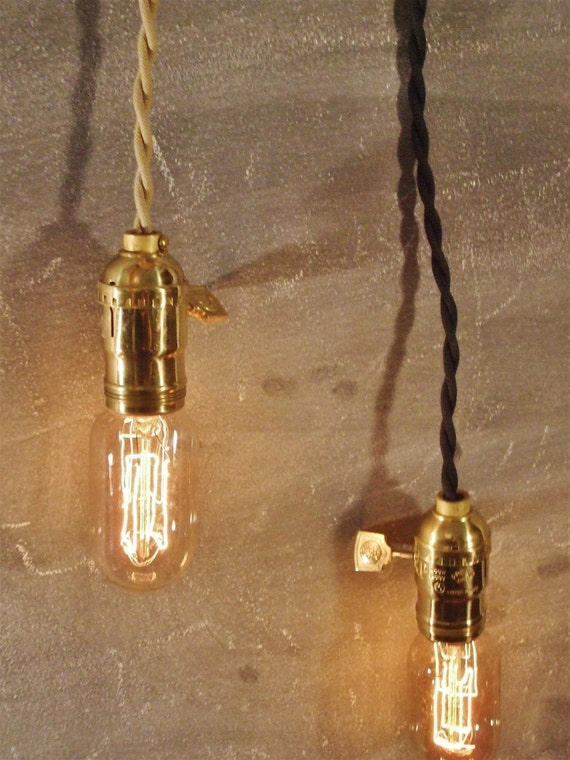 Vintage Minimalist Industrial Bare Bulb Light Sockets - Pendant Lamp, Cloth Cord