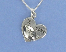 I LOVE FOOTBALL Heart Sterling Silver on Inspirational Card