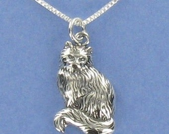 Sitting Cat Pendant Sterling Silver on Card with Humorous Quote About Cats