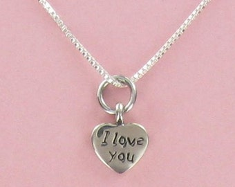 Tiny I Love You Heart Necklace - 925 Sterling Silver - on Design Your Own Gift Card