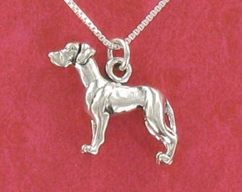 Great Dane Necklace - 925 Sterling Silver on Gift Card with Humorous Quote