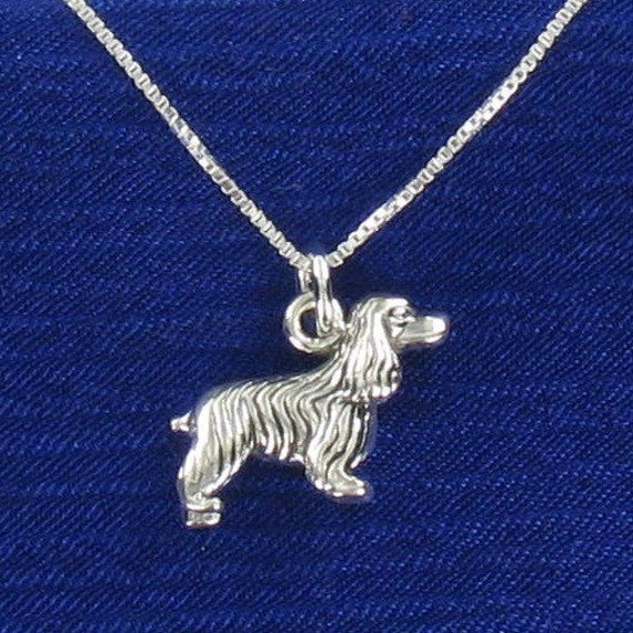Cocker Spaniel Pendant Sterling Silver on Card with Quote