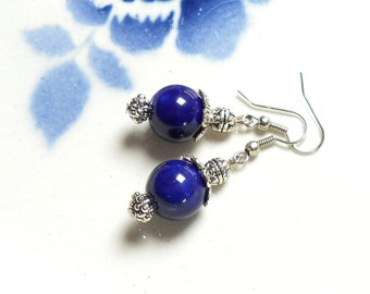 blue earrings Delft blue style Delft blue earrings blue dangle earrings blue ceramic earrings