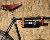 Bicycle Wine Rack - Tan Leather Bike Bottle Holder