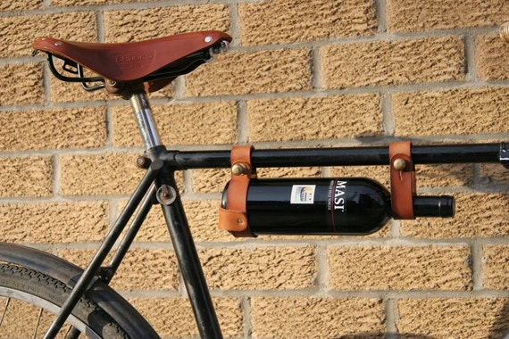 "Bicycle Wine Rack, Leather  - 1"" top tube frame"