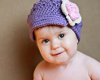 Girl Hat Brimmed Flower Newsgirl Newsboy Crocheted Hat Amethyst, Pink, and Ivory - baby toddler child tween teen adult