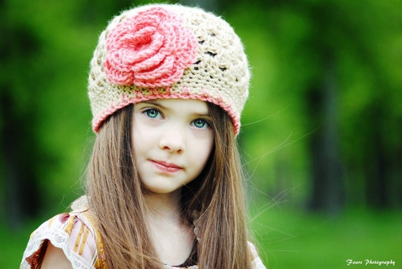 Baby Toddler Child Teen Adult Sizes Available  Flower Flapper Beanie Crocheted Hat in Bone and Strawberry