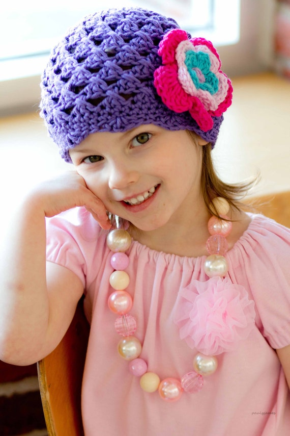 Girls Hat Flower Flapper Style Crocheted Beanie, Bright and Bold in Amethyst, Hot Rose, Peacock, Soft Pink and Lavender -