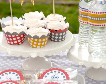 Party Printables: DIY Vintage Polka Dot Zoo Birthday Set (EditableText) (INSTANT DOWNLOAD)