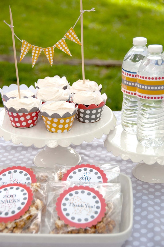 Party Printables: DIY Vintage Polka Dot Zoo Birthday (Customizable Text) (INSTANT DOWNLOAD)