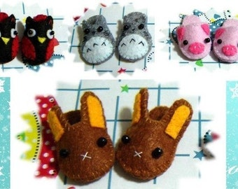 Doll Slippers, Brown Bunny Slippers, Lati Yellow Slippers, Pukifee slippers, Blythe Slippers, lati yellow shoes, blythe shoes