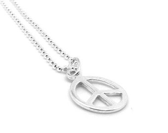 Small Peace Sign Necklace, Sterling Silver Peace Necklace, Peace Jewelry, Peace Sign Pendant, Charm Necklace, Sterling Silver Jewelry, Peace