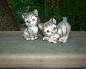 Vintage Global Art Tiger Cat Figurines