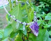 Amethyst Purple Geode Choker Necklace with Quartz and Swarovski Crystals