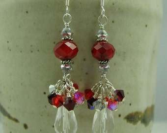 Red Crystal and Rock Crystal Sterling Silver Earrings