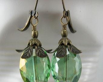 Green Antique Brass Crystal Earrings