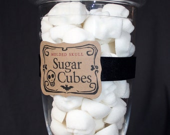 SUGAR SKULLS Apothecary Jar - Halloween Gift 60 Skull Shaped Sugar Cubes