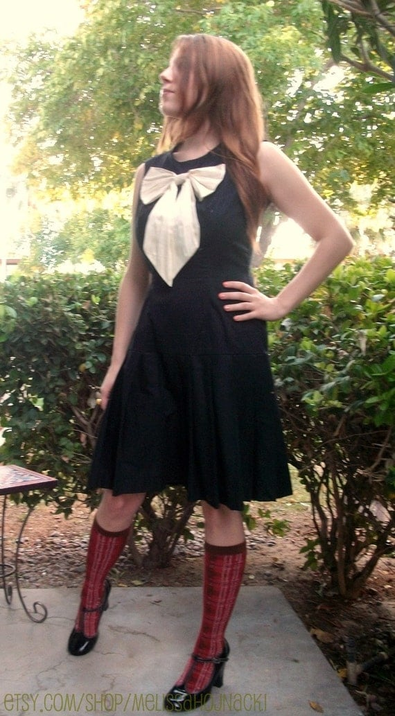 Made to order pleated school girl dress with silk bow