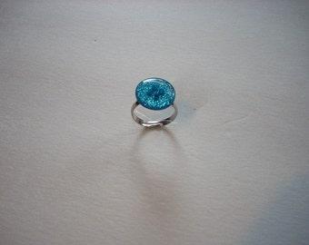 Blue Glitter Button Ring