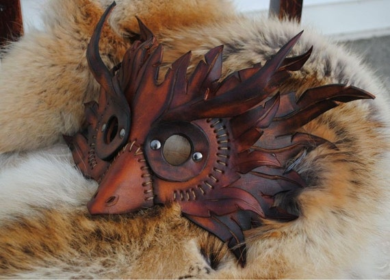 Spliced Owl Leather Mask
