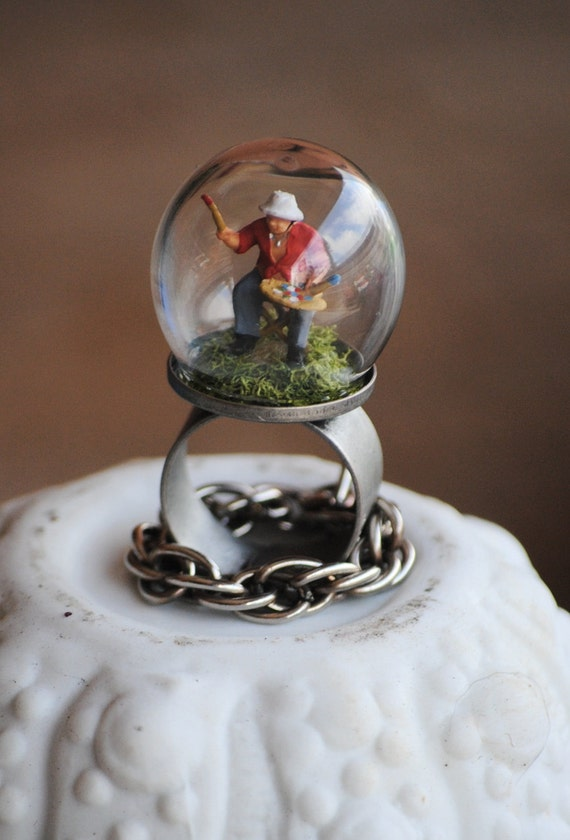 You inspire me............... Miniature artist bubble, dome, diorama ring