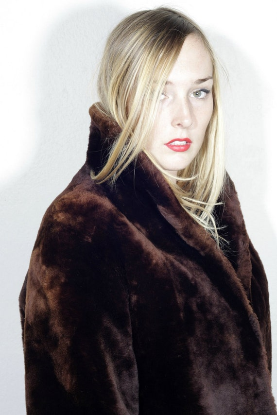 SALE vintage 60's sheared beaver fur cropped mod coat women's