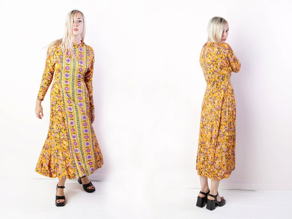 vintage 60's maxi dress in orange with purple flowers retro dolman sleeves empire bohemian hippie festival women's