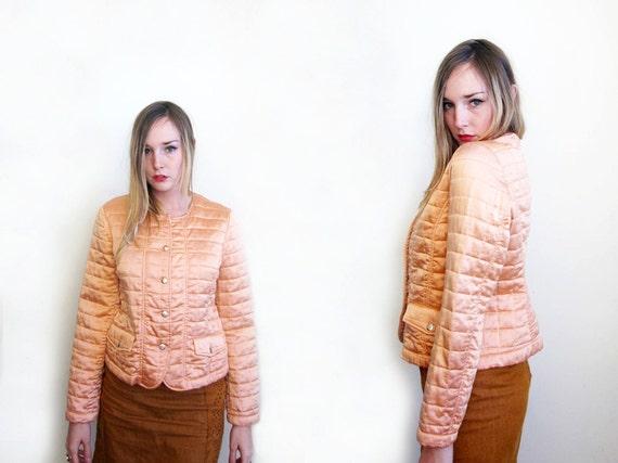 SALE vintage 50's vintage quilted coral pink silk lingerie button up jacket women's