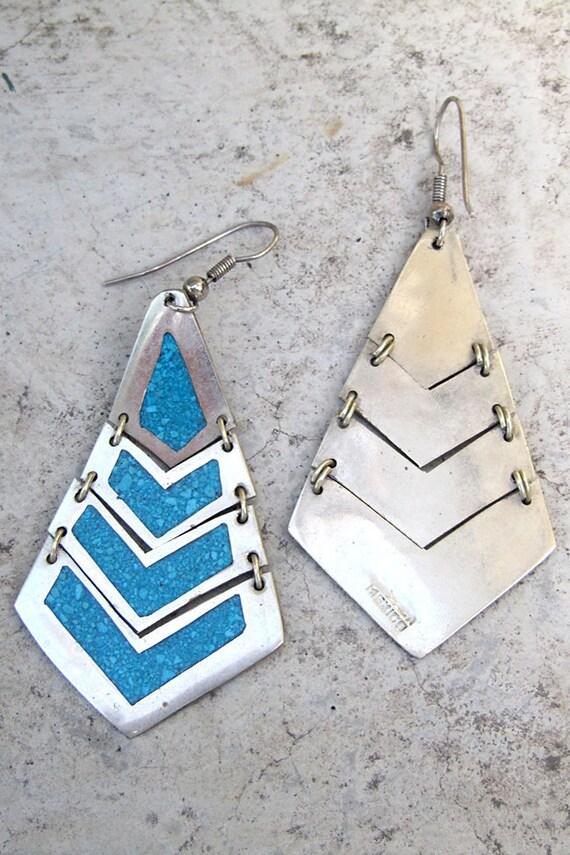 Vintage 80s Mexican Taxco Earrings - Vintage Clothing by TatiTati Vintage on Etsy