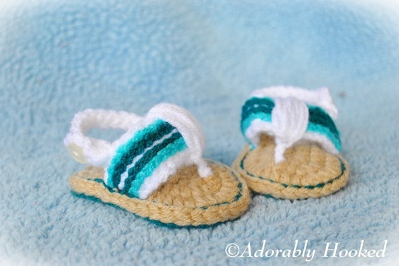 Crochet Baby Sandals, Baby Flip Flops, Crochet Baby Shoes, MADE TO ORDER, Sizes 0-6 Months and 6-12 Months