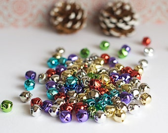 Christmas Jingle Bells Lot of 12 Metal Assorted Colors christmas crafts supplies Holiday Decor