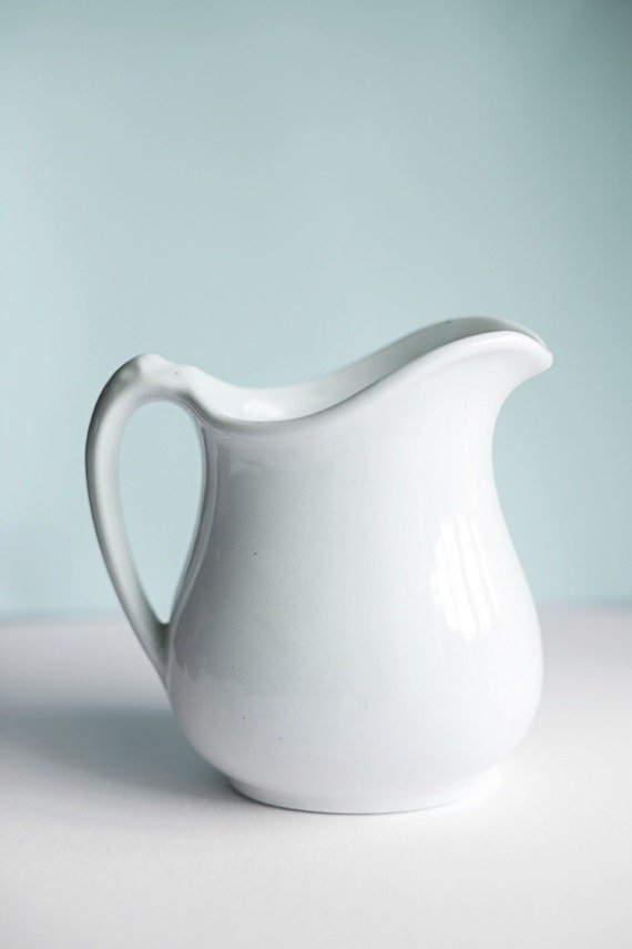 White Ceramic Pitcher Small Shabby Chic Cottage Decor